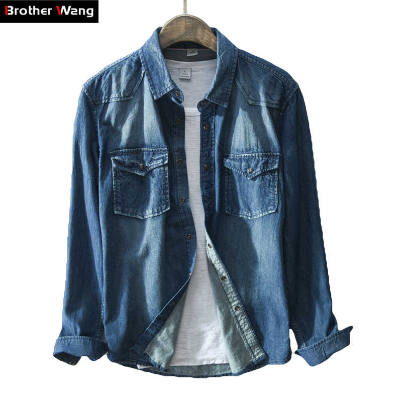 Brother Wang бренд 2019 Весна Новая мужская повседневная черная джинсовая рубашка 100 хлопок Модная тонкая рубашка с длинными рукавами мужская одежда