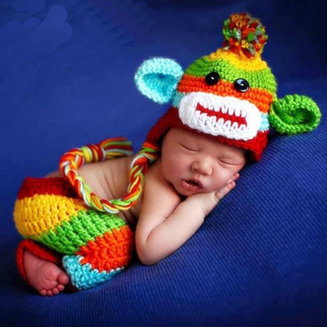2b8bd4b77 Newborn Baby Photo Shoot Cartoon Monkey Hat+Pants Outfits Clothes Infant  Tiny Baby Boy Girl Crochet Photography Props foto bebe