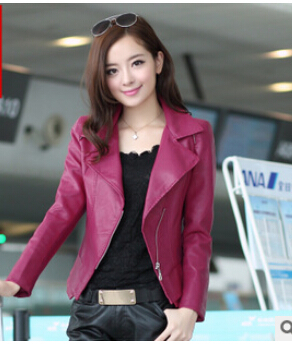 fashion pink sky blue women leather jacket bomber motorcycle Leather  jackets women 6 color brand leather coat jaqueta couro c707a28a6