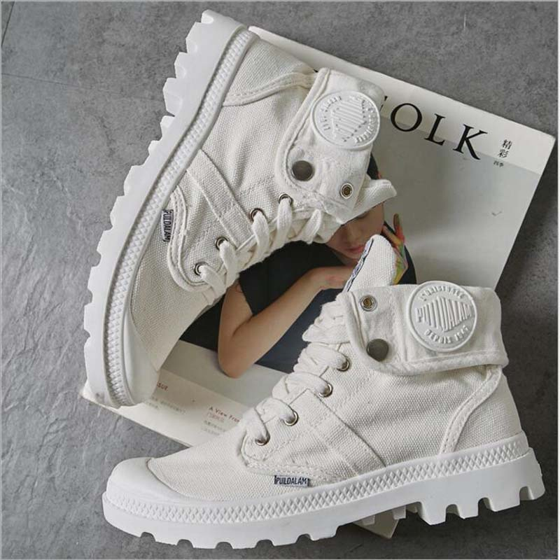 GAYESIN 2018 Fashion High Top Sneakers Canvas Shoes Women Casual Shoes White Flat Female Basket Lace Up Solid Trainers Chaussure