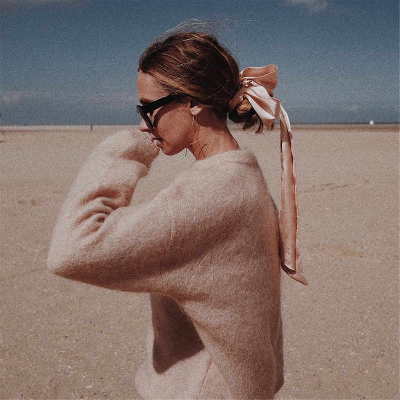 413ce8a411faf Women Solid Mohair Long Sleeve Loose Autumn Winter Lazy Fan Knitted Cozy Pullover  Sweater
