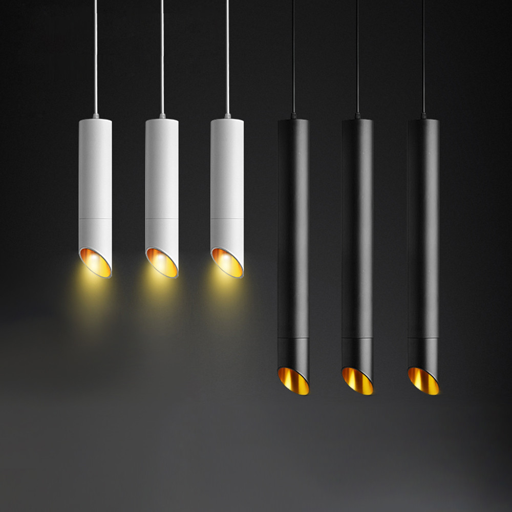 Modern Long Tube Led Pendant Lamp With 1m Wire Hanging Black/White Body Kitchen Island Dining Room Shop Bar Counter Decoration