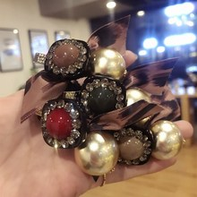 Korea New Style Flower Crystal Ball Elastic Hair Bands Diamond Accessories Bows Rubber Band Ring Gum For Women