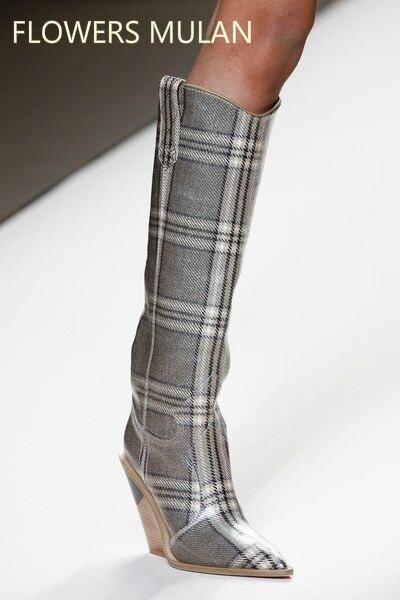 Puntiagudos moda diseñador Strange tacones altos cuero Real mujeres zapatos 2018 nuevas botas de otoño invierno Runways botas largas de mujer