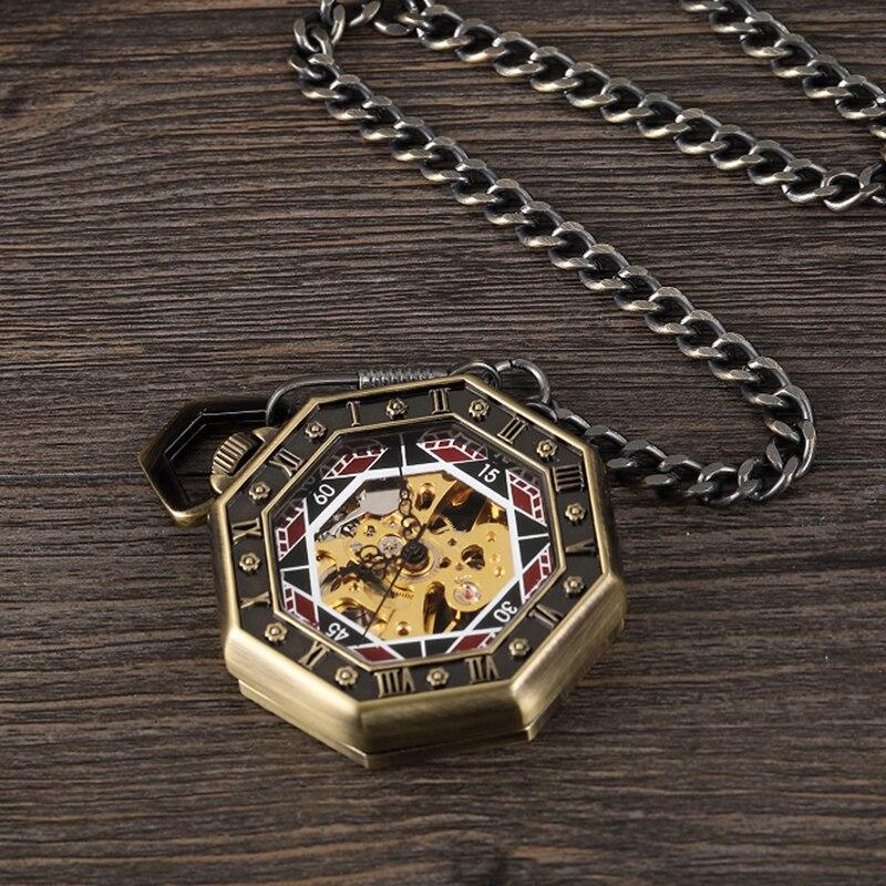 Transparente Octagon Números Romanos Mens Relógio Fob Cadeia Relógios