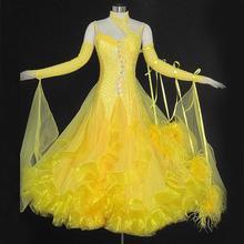 Adult Standard Ballroom Dress High Quality Stone Yellow Tango Ballroom Dancewear For Women Waltz Ballroom Dance Dresses
