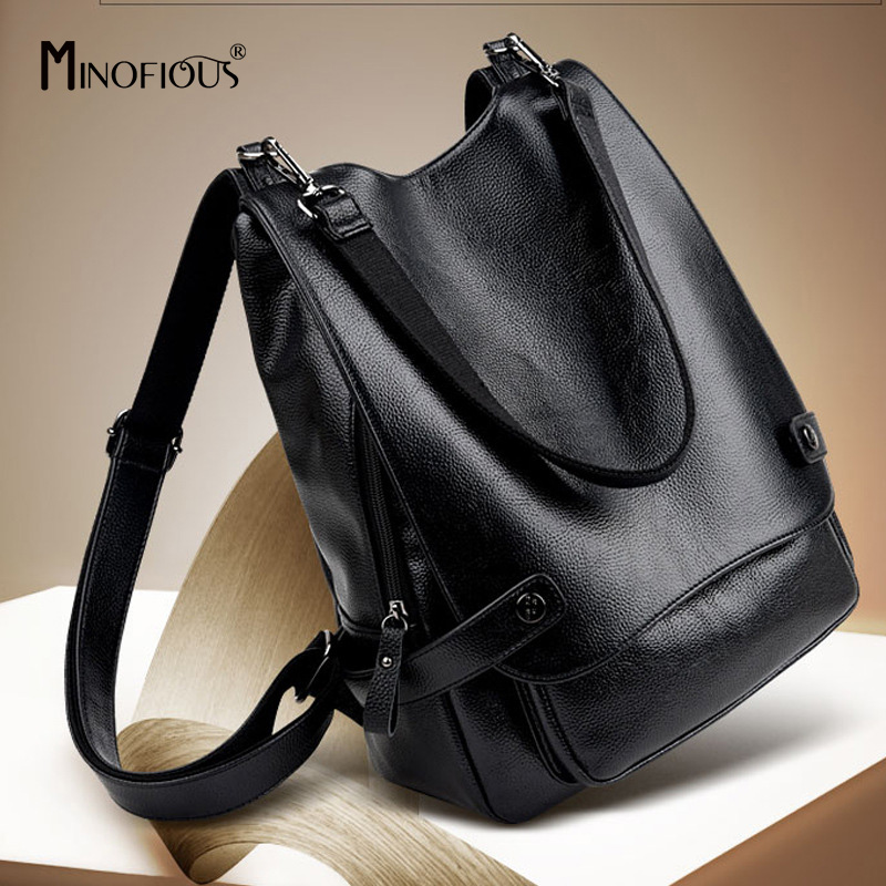 MINOFIOUS Women Soft Genuine Leather Backpack Fashion Simple Shoulder Bag Backpacks High Quality Girl School BagS Solid Bag Pack