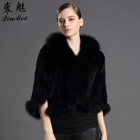 Real Fur Ponchos Women's Winter Fashion Ladies Knitted Scarves With Fox Fur New Luxury Coats Warm Genuine Mink Fur Shawls