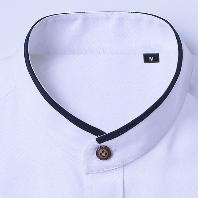 BROWON Brand New Fashion Summer White Shirt Men Short Sleeve Shirt Slim Fit Stand Collar Solid Color Button Shirt for Man 4