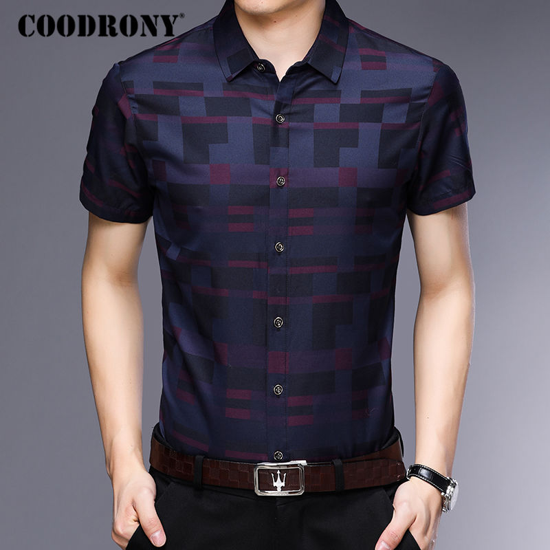 COODRONY Short Sleeve Shirt Men Clothes 2019 Summer Mens Shirts Casual Slim Fit Plaid Camisa Masculina Cotton Chemise Homme 8701 2