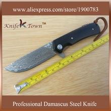 DS012 damascus steel blade padauk wood handle high grade folding hunting knife Camping Knife oxota cuchillos militares
