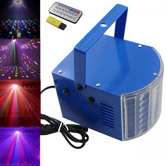 Remote USB Butterfly Led Stage Lights Portable Colourful Sound DJ - Laser lights for bedroom