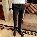 2016 autumn mens black fit business dress suit trousers western style casual skinny suit pants for men