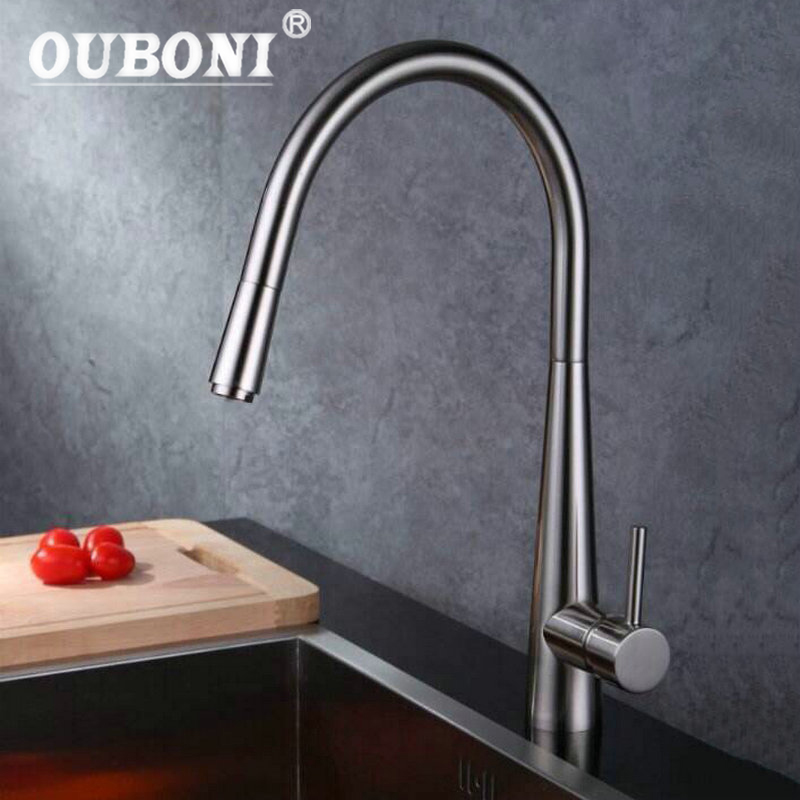 OUBONI pull out faucet Nickel Brush swivel kitchen sink Mixer tap kitchen faucet vanity Mixer Ta 92352 new design pull out kitchen faucet chrome 360 degree swivel kitchen sink faucet mixer tap kitchen faucet vanity faucet cozinha