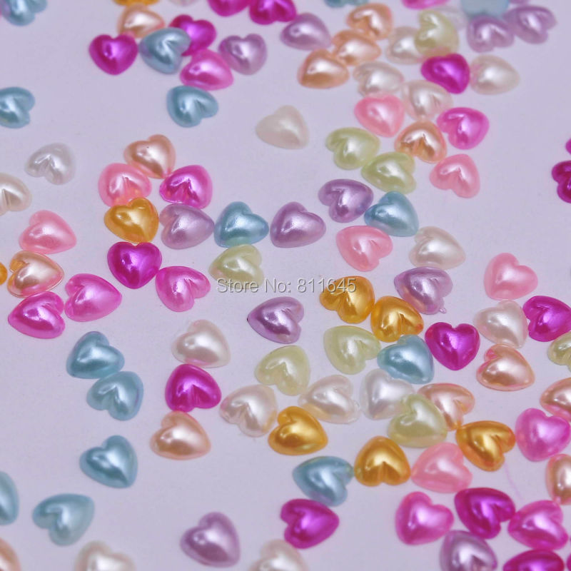 Professional Sale 2000pcs/lot Free Shipping Cheap Mix Color Abs Half Imitation Pearl Heart Beads Flatback Cabochon Scrapbooking Craft 6mm Beads & Jewelry Making Beads