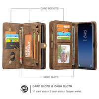 JDBLE Multifunction Wallet Leather Cases For Samsung Galaxy S9 S9Plus S8 S8Plus Zipper Purse Pouch Card