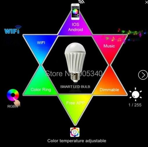 Ampoule led wi-fi 7.5 W RGB + blanc dimmablelamp maison intelligente pour IOS et Android iPhone Ipad contrôle led ampoule magique lampe intelligente - 2