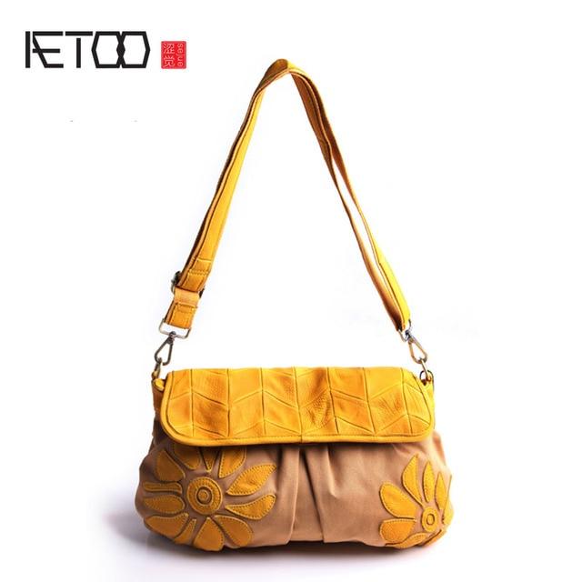 AETOO Pure leather with canvas Japanese shoulder Messenger Messenger bag  fashion flower pattern Sen Department of 7402c03b97