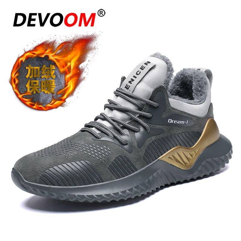 Fashion Black Sneakers Men Shoe Trainers Men 2018 Winter Men's Shoes Fur Nubuck Cotton Fabric Mans Leather Shoes Plus Size 46