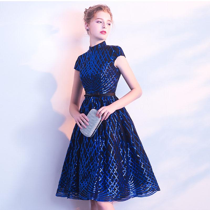 Royal Blue Vestido De Fiesta De Coctel Corto Bling Bling Sparkle Lace Short Sleeves Prom Gowns High Neck Cocktail Party Dresses