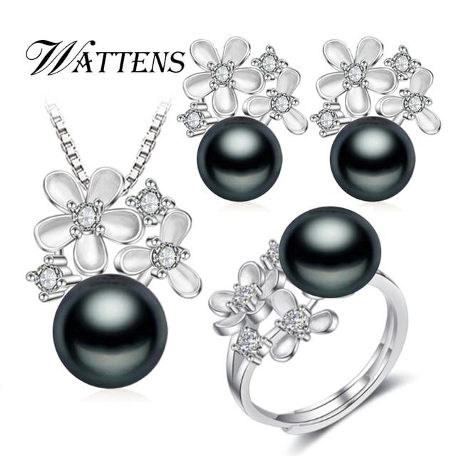 Wattens真珠ジュエリーウェディング婚約ジュエリーセット天然真珠ペンダントネックレス女性/スタッドピアス、花パーティーイヤリング
