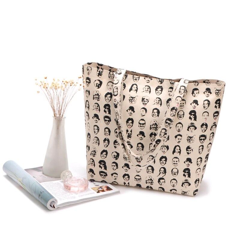 Under Nineteen Large Capacity Tote Bag Woman Beach Handbag Canvas Shopping School Books Trip Bag Printed Grocery Shoulder Bags