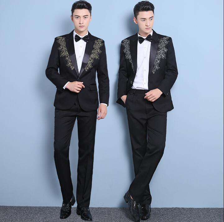 5db01b7162 Boda 1 Bordado 2019 Pantalones Ropa Vestido Corbata Novio 2 Con De Los Trajes  Hombres Cantante Formal Moda ...