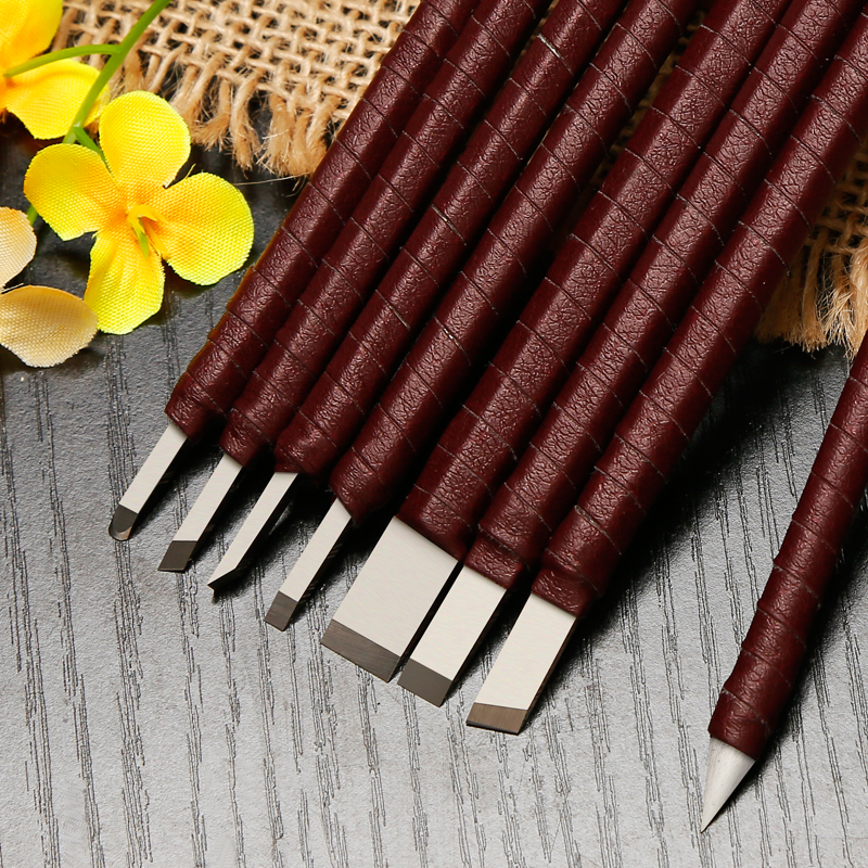 High Quality 8Pcs Carving Knife With Leather Bag Alloy Tungsten Steel Seal Engraving Knife Carved Stone Carving Engraving Tools