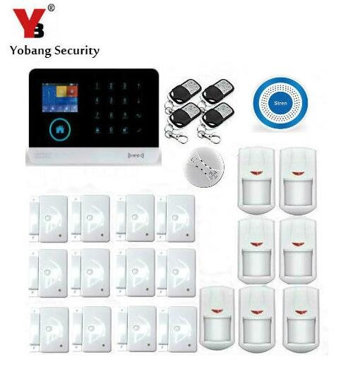 Yobang Security Android ios APP Control Wireless WIFI GSM SMS Alarm System With PIR Motion Sensor Blue Siren Smoke Alarm Kits yobangsecurity gsm wifi burglar alarm system security home android ios app control wired siren pir door alarm sensor