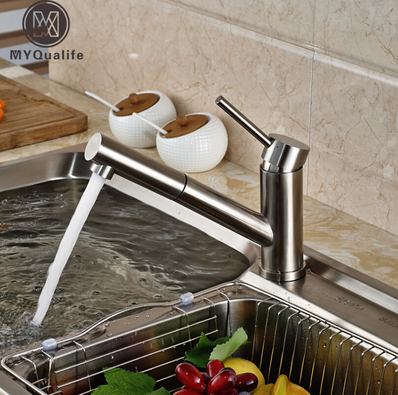 Deck Mount Short Long Pull Out Spout Kitchen Mixer Faucet Tap Brushed Nickel with Hot and Cold Water good quality brushed nickel kitchen faucet deck mounted hot and cold water pull out sstream sprayer spout kitchen mixer tap