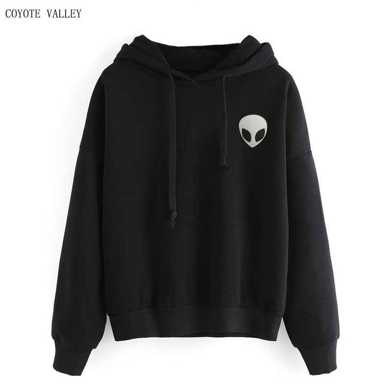 Hoodies new real O - neck 2017 autumn winters embroidery loose long-sleeved pure color wool kyliejenner
