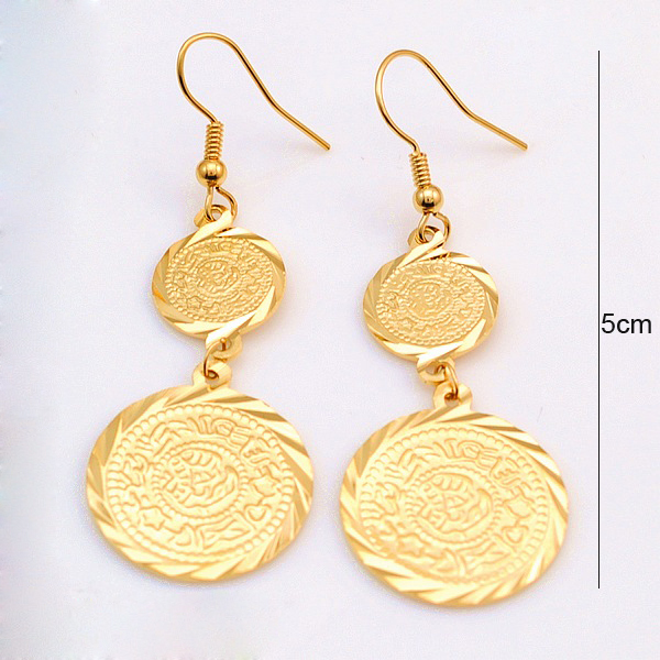 Guangzhou Jewelry 18k Gold Plated Coin Earrings Whole Lot Money Symbol Wedding Gift Arabic Item Women