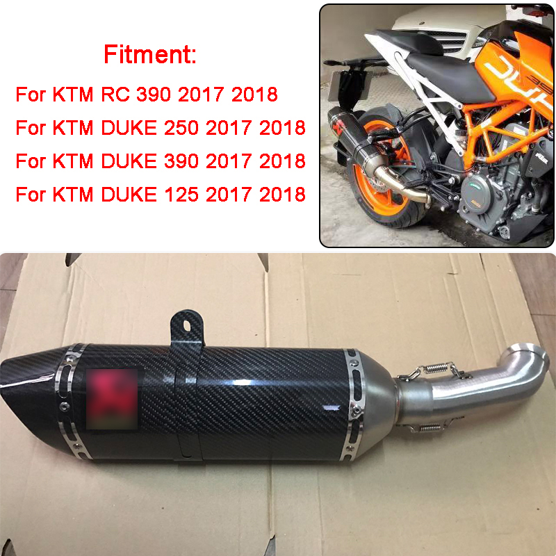 New For KTM 2017 2018 DUKE 390 250 125 Duke RC 390 RC390 Motorcycle Moto Exhaust Muffler Mid Middle Pipe Slip-on