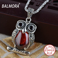 BALMORA 100% Real 925 Pure Silver Jewelry Hyacinth Owl Pendants fit for Necklaces Women Female Gifts Retro Accessories HSJ10092