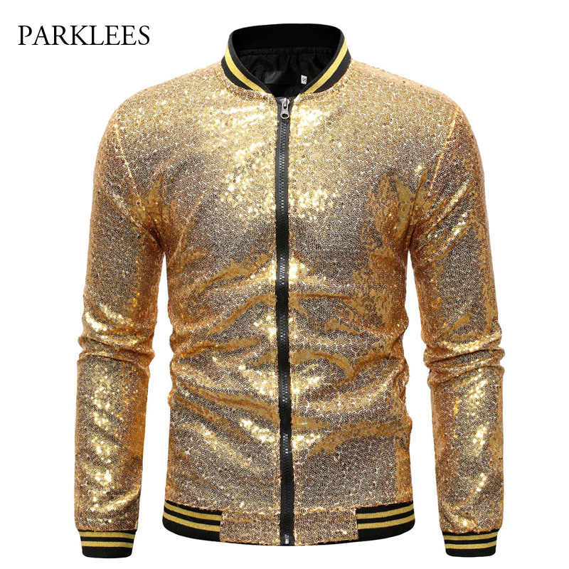 Shiny Sequins Sparkle Bomber Jacket Men 2019 Newest Gold Glitter Striped Zipper Mens Jackets And Coats Party Dance Show Clothes