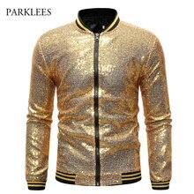 Błyszczące cekiny Sparkle Bomber Jacket Men 2019 najnowszy złota brokatowa paski Zipper męskie kurtki i płaszcze Party pokaz taneczny ubrania