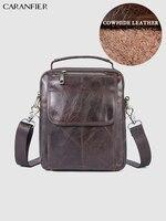 CARANFIER Mens Travel Bags Genuine Cowhide Leather Mini Shoulder Messenger Bags Vintage Male Solid Color Zipper Crossbody Bags