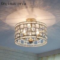 Estilo americano lâmpada de cristal do teto quarto sala de jantar corredor corredor de entrada Francês circular CONDUZIU a lâmpada do teto frete grátis