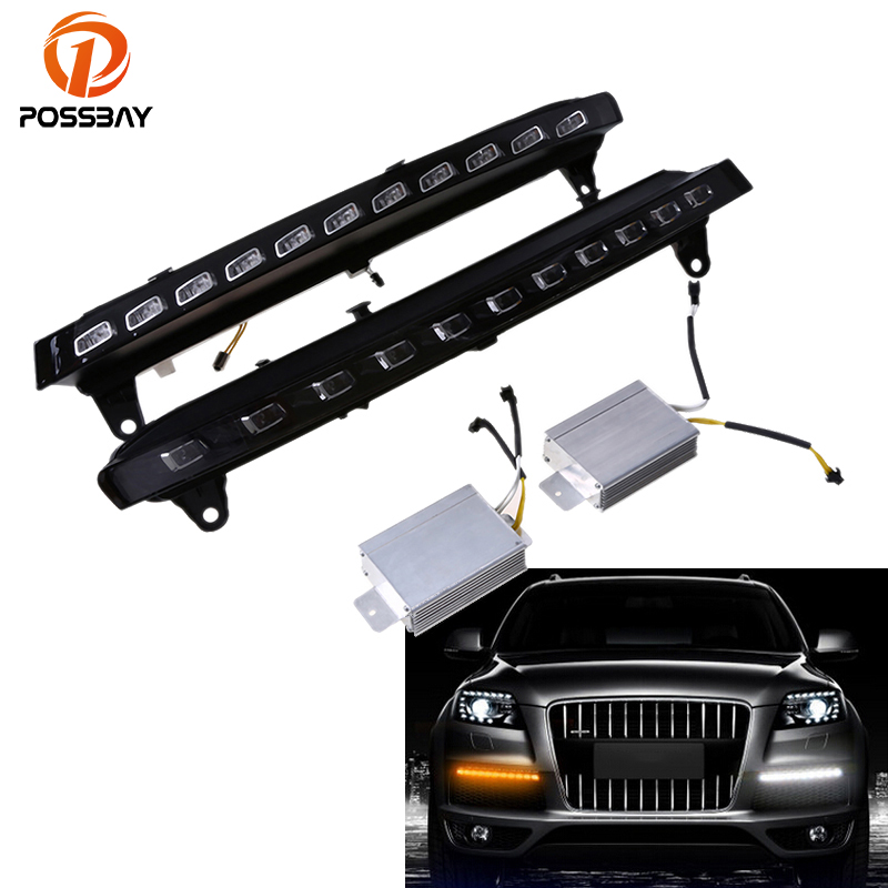 POSSBAY Car Daylight for Audi Q7 (4L) '2005-2009 Pre-facelift Car Daytime Running Lights LED DRL Fog Lamp Turn Signal Lamp for opel astra h gtc 2005 15 h11 wiring harness sockets wire connector switch 2 fog lights drl front bumper 5d lens led lamp