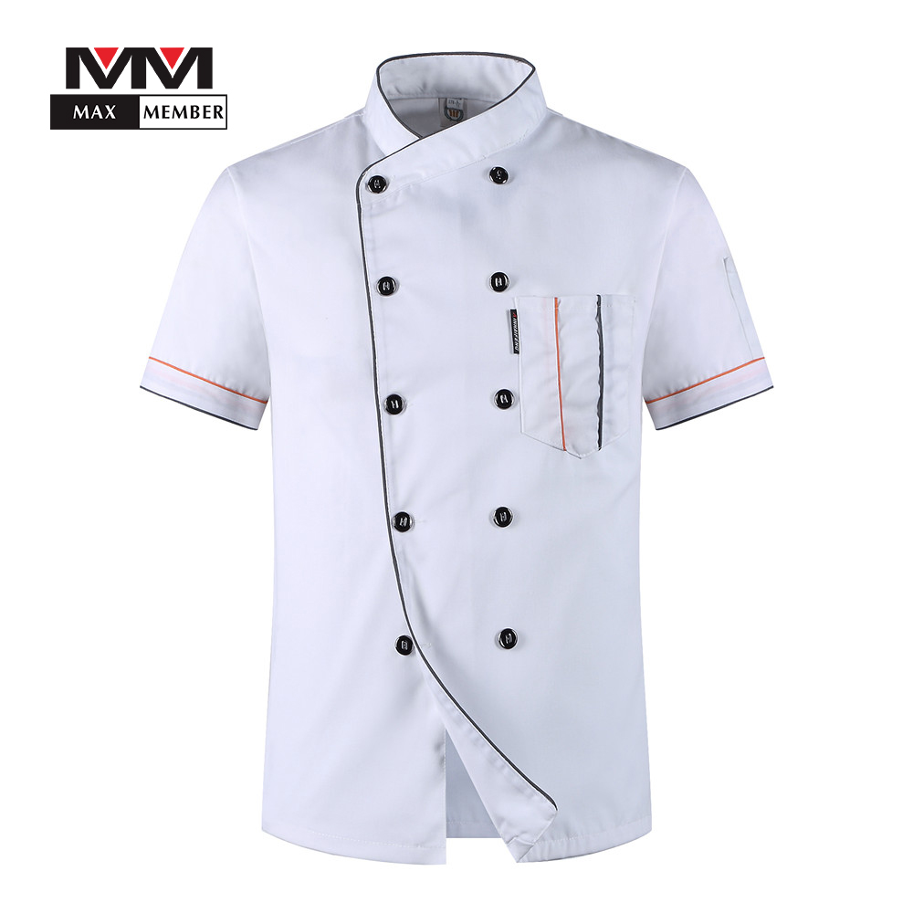 Men Oblique Collar Solid Summer Breathable 10 Buttons Short Sleeve T-shirt Chef Work Uniforms Jacket Kitchen Clothes M-3XL