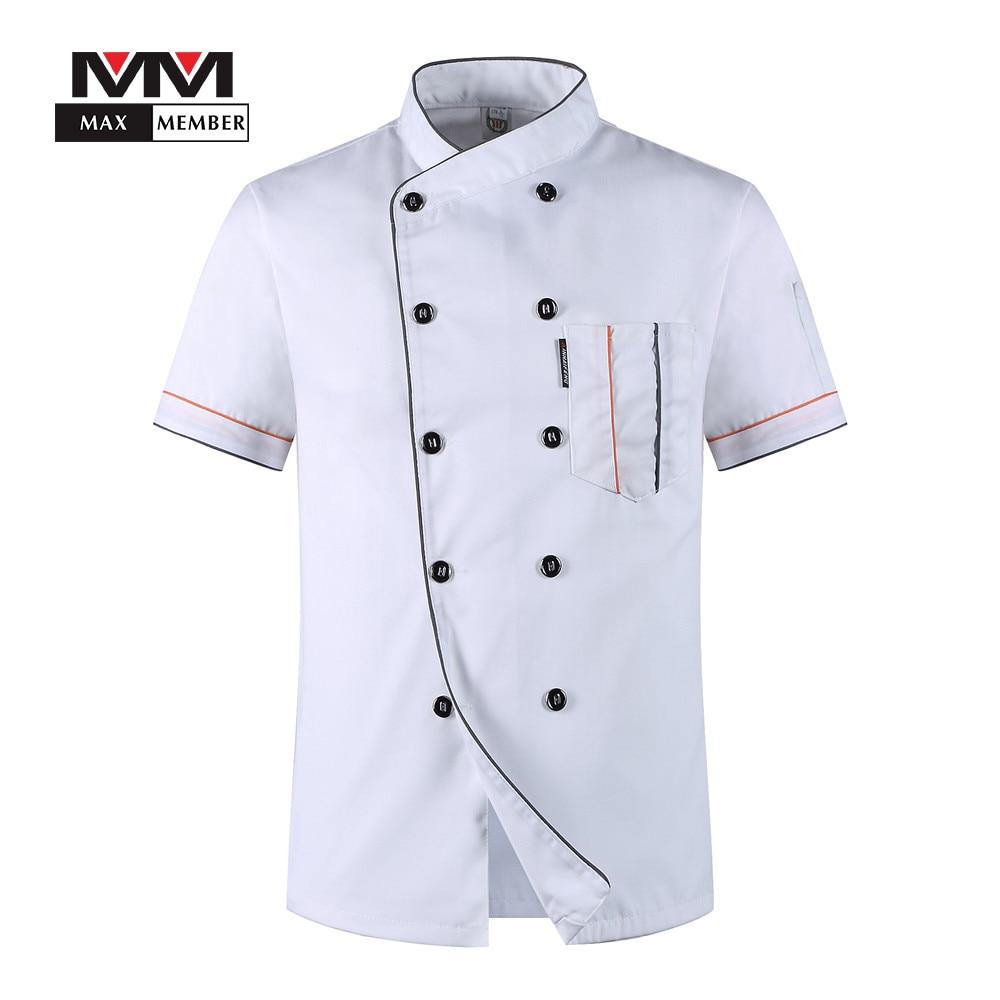 Men Oblique Collar Solid Summer Breathable 10 Buttons Short Sleeve T-shirt Chef Work Uniforms Jacket Kitchen Clothes M-3XL