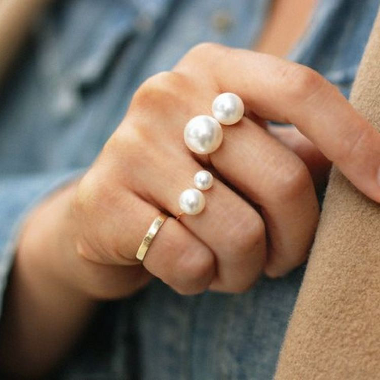 Fashion Pearl Ring Exaggeration Fashion U shaped Opening Adjustable Gold Ring For Women New jewelry 2019