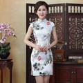 2017 New Summer Ink Painting Cheongsams Women's Fashion Party Dress Slim Daily Improvement Chinese Dresses Qipao