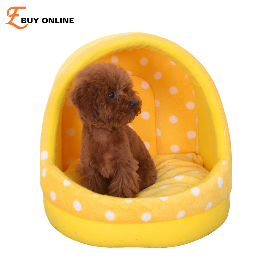 New Dog Beds pet kennel Dot Corduroy Removable Cover Cat dog house Blue Yellow Pink 3 colour S/M/L pet products dog beds/Mats ...
