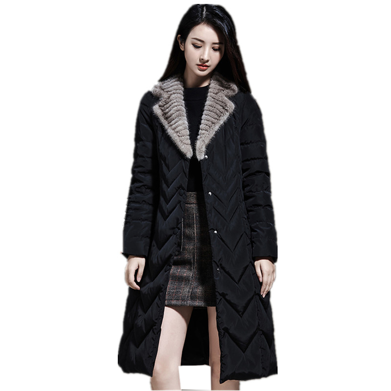 New Women   Down     Coats   Fashion Mink Fur Fur Slim Long   Down   Jackets Winter Female Casual   Down   Parkas Outwears YP2130