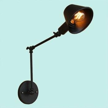 Лофт ретро матовый черный металлический светильник Регулируемая поворотный рычаг настенная лампа для чтения e27 led 85-265V освещение для Рабоча...