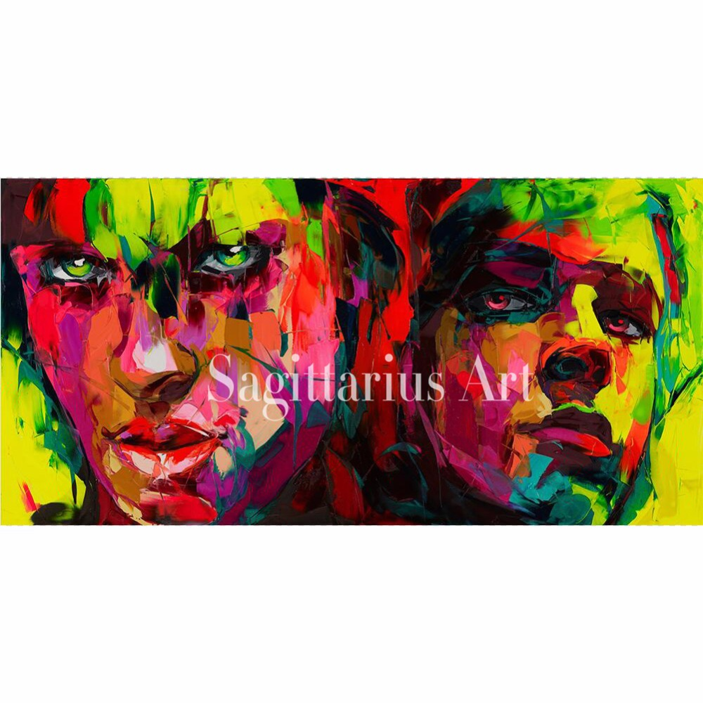 Hand Painted Palette knife portrait Cool Face Art  Untitled 29 Francoise Nielly Designer Oil painting canvas Wall Decor BedRoomHand Painted Palette knife portrait Cool Face Art  Untitled 29 Francoise Nielly Designer Oil painting canvas Wall Decor BedRoom