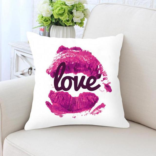 Love Pillow Case Pink Lips Cream Y Kiss Me Decoration Soft Plush Fabric Cushion Cover For Valentines Day Gift