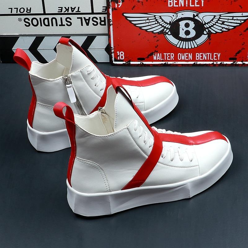 d6d5717ce92052 Jaune Hip Nouvelle Blanc 2019 Tendance Hommes High Top Homme Mode forme  Arrivée Loisirs Hop Dentelle Chaussures Zapatos Plate Casual rIqdwqZxU