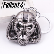 Hot Game FALLOUT4 charms mask keychain Power Armor cosplay Jewelry key rings Kids Souvenirs chaveiro llavero Costume Props 2017(China)